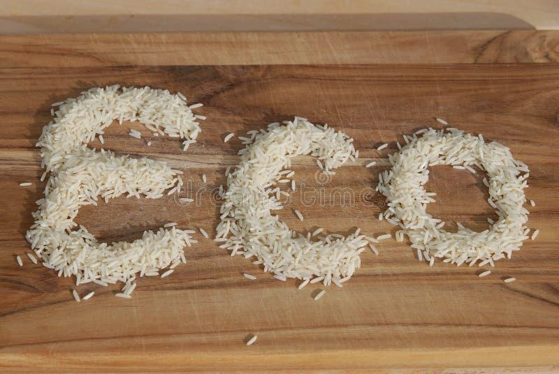 Eco geschrieben in Reis lizenzfreies stockbild