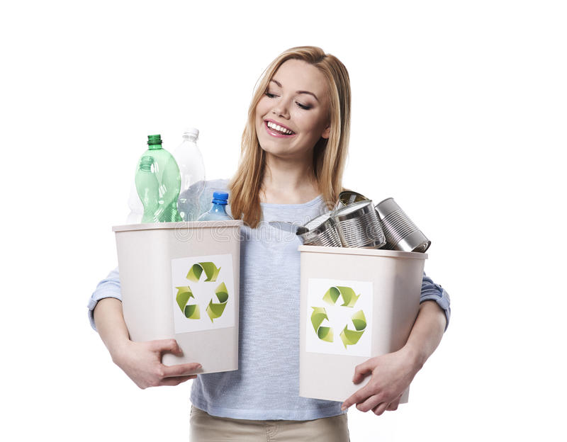 Eco girl. Do you know how to start a recycling stock images