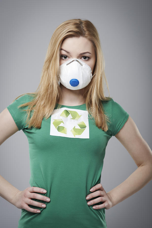 Eco girl. Protect world against air pollution royalty free stock photo