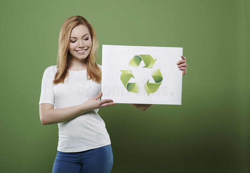 Eco girl. Together we can help our planet stock photography
