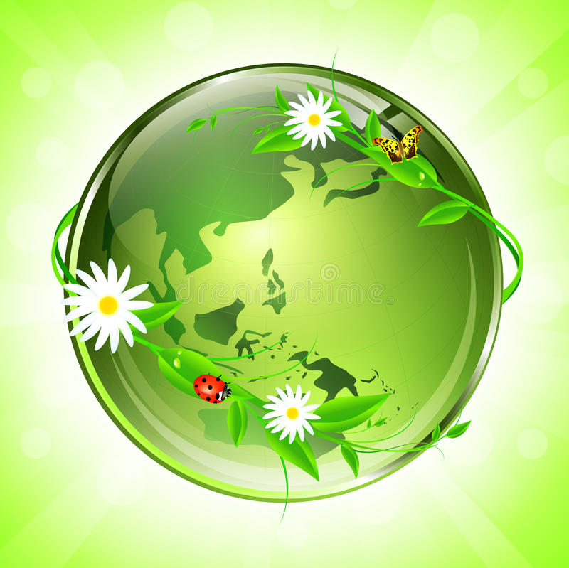 Eco globe. World conceptual eco glossy globe (map used from NASA public domain royalty free illustration