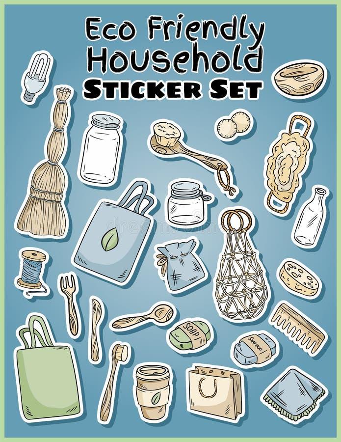 Eco gospodarstwa domowego życzliwi majchery ustawiający Ekologiczna i odpady kolekcja etykietki E ilustracji