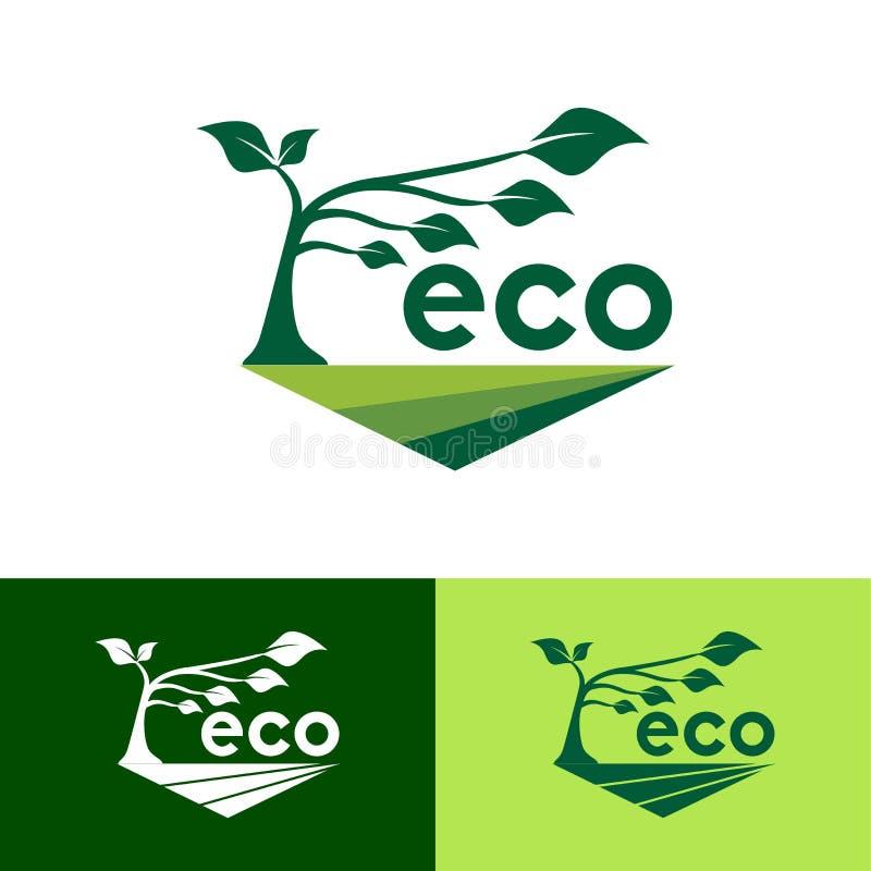 Eco gräsplan Logo Design Template - vektor royaltyfri illustrationer