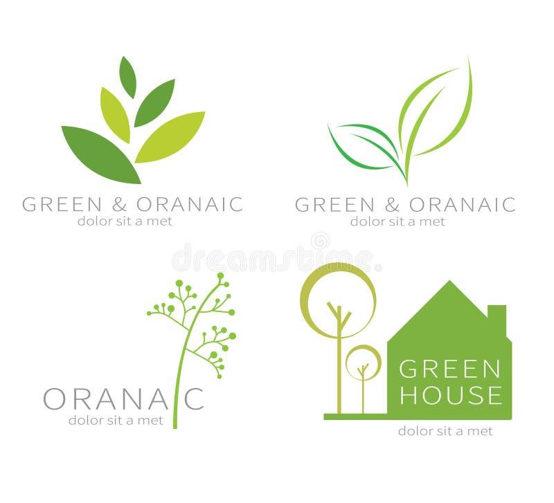 Eco gräsplanblad Grön symbol för ekologi stock illustrationer