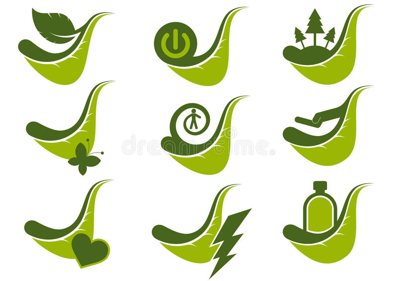 Eco grüne Ikonensymbole lizenzfreie abbildung