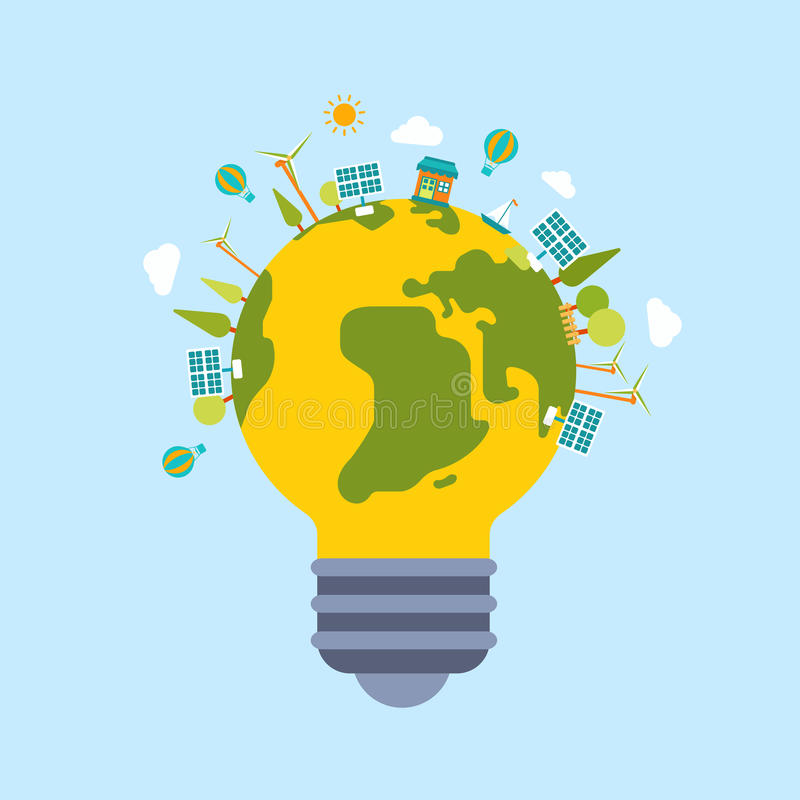 Eco grünen moderne flache Artschablone der Energieplanetenweltkugel lizenzfreie abbildung