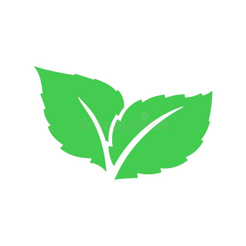 Eco green color leaf vector logo flat icon. Bio plant and tree floral forest concept design. Leaves icon. stock illustration