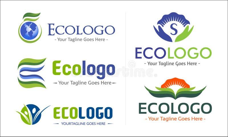 Eco Green Company Logo Pack foto de archivo libre de regalías