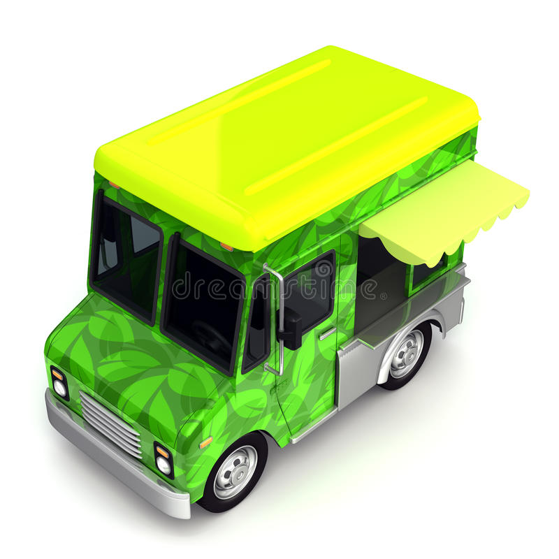 Eco green food truck side stock illustration