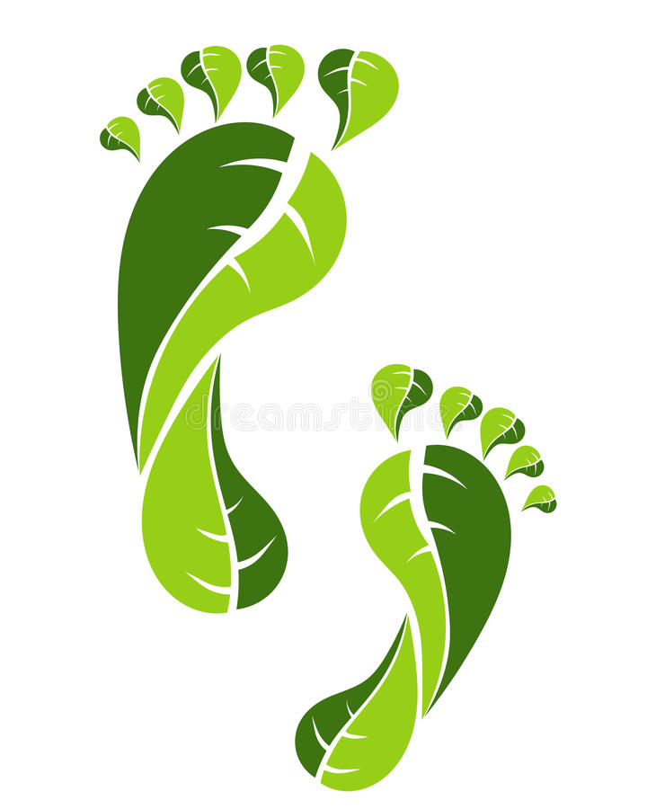 Eco green footprint. Footprint made from green leaves