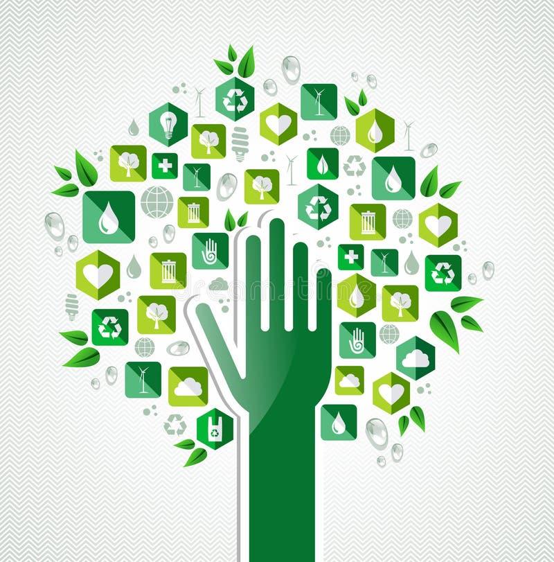 Eco green hand tree vector illustration