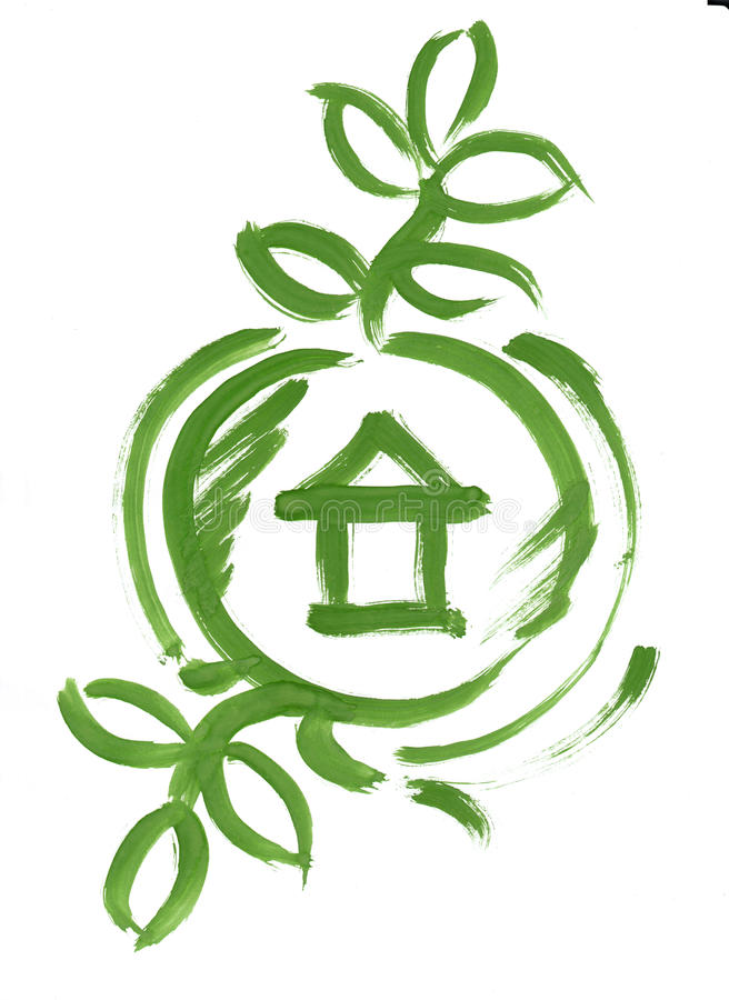Download Eco Green House In Circle Web Icon Sketch Paint Stock Illustration - Image: 17789646
