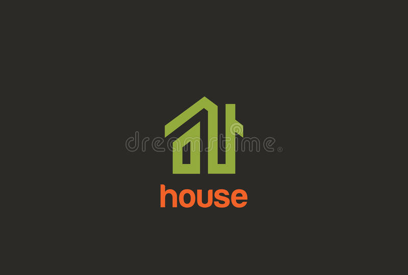 Eco Green House Logo design Real Estate stock illustration