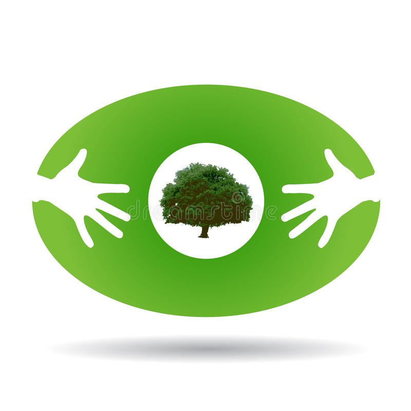 Eco green icon with hands and tree stock illustration
