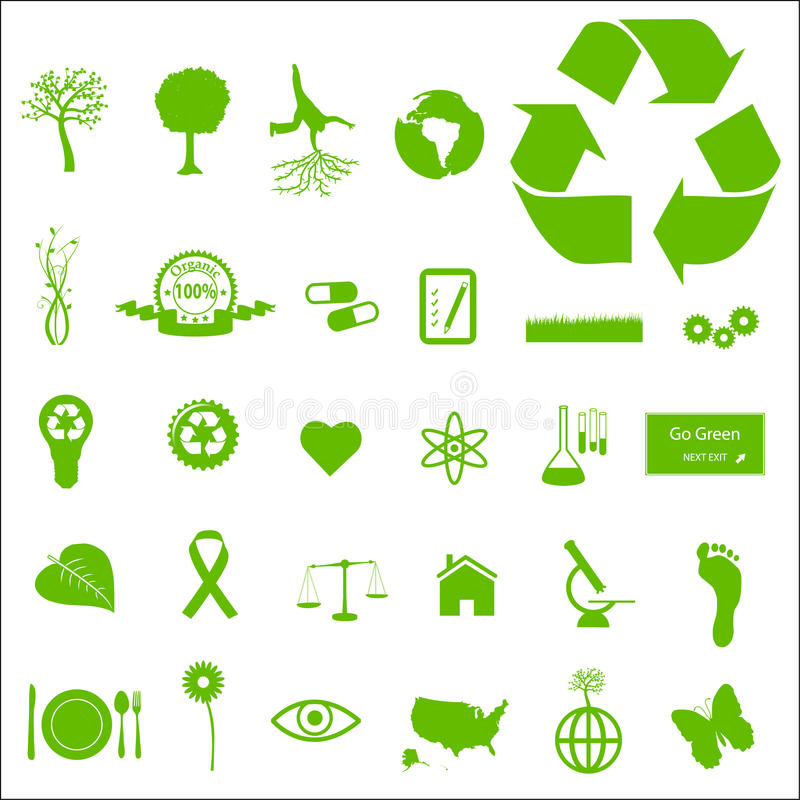 Download Eco and Green Icons stock vector. Illustration of natural - 14270329