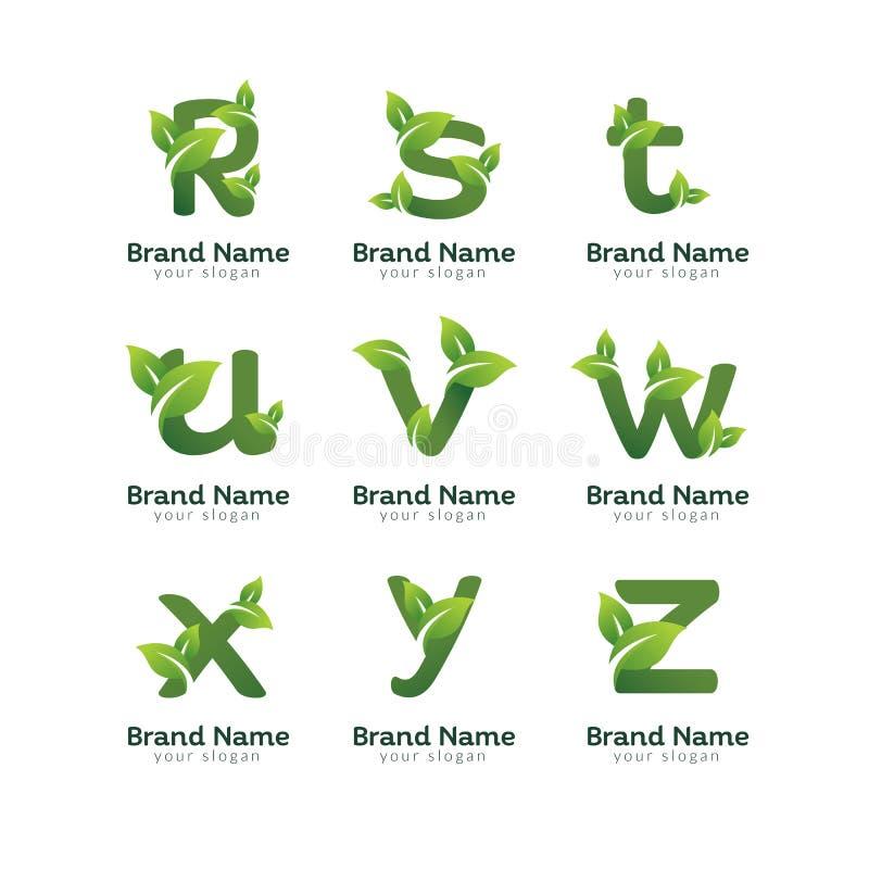 Eco green letter pack logo design template. Green alphabet vector designs with green and fresh leaf illustration stock illustration