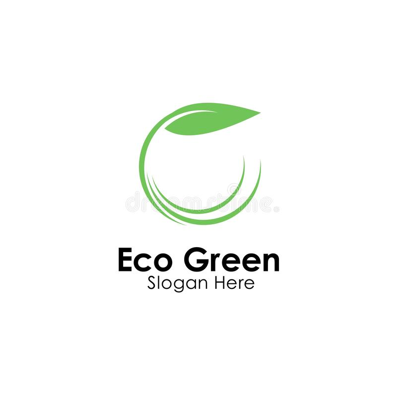 Eco green logo template design vector, icon illustration. Nature, natural, leaf, organic, symbol, food, concept, fresh, health, ecology, bio, logos, plant royalty free stock images