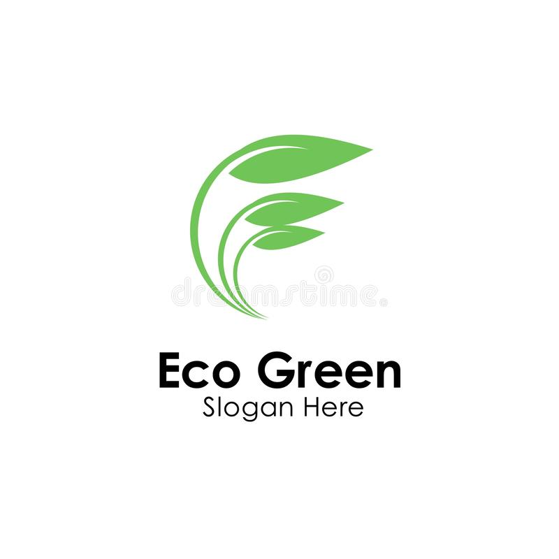 Eco green logo template design vector, icon illustration. Nature, natural, leaf, organic, symbol, food, concept, fresh, health, ecology, bio, logos, plant stock illustration