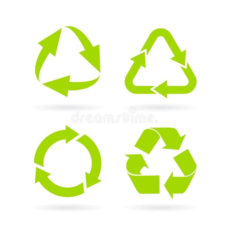 Eco green recycled symbol. S set isolated on white background stock illustration