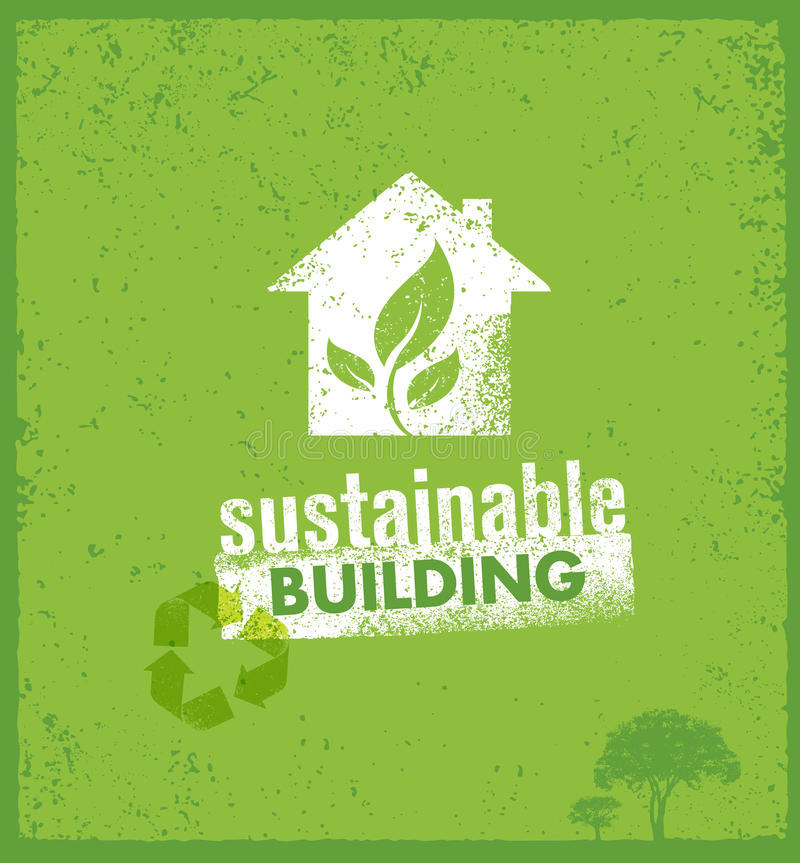 Eco Green Sustainable Living Creative Organic Vector Banner Concept On Rough Background.  royalty free illustration