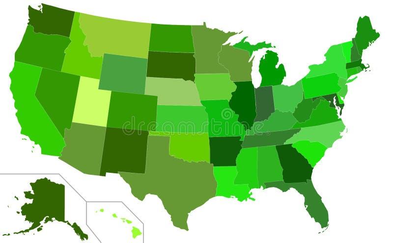 Eco green USA map stock illustration