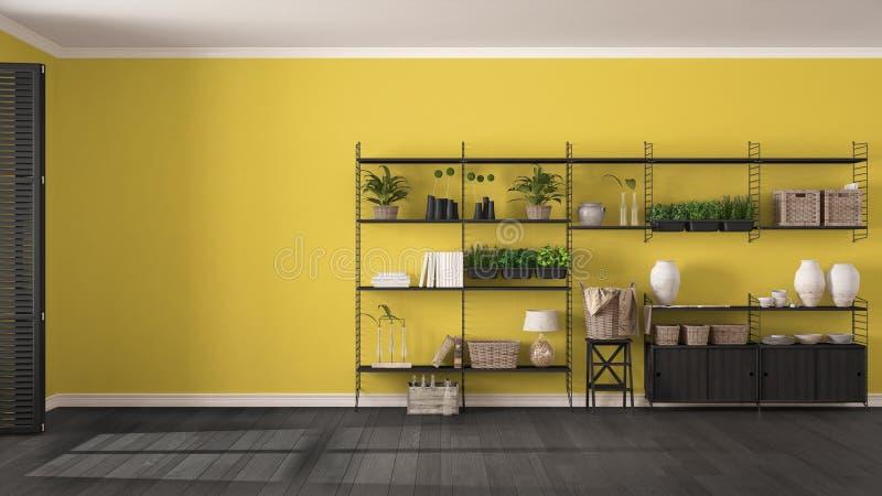 Eco grijs en geel binnenlands ontwerp met houten boekenrek, diy v stock foto's