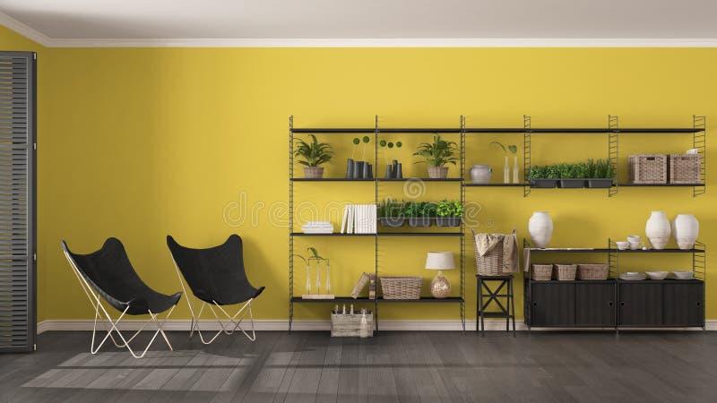 Eco grijs en geel binnenlands ontwerp met houten boekenrek, diy v stock afbeeldingen