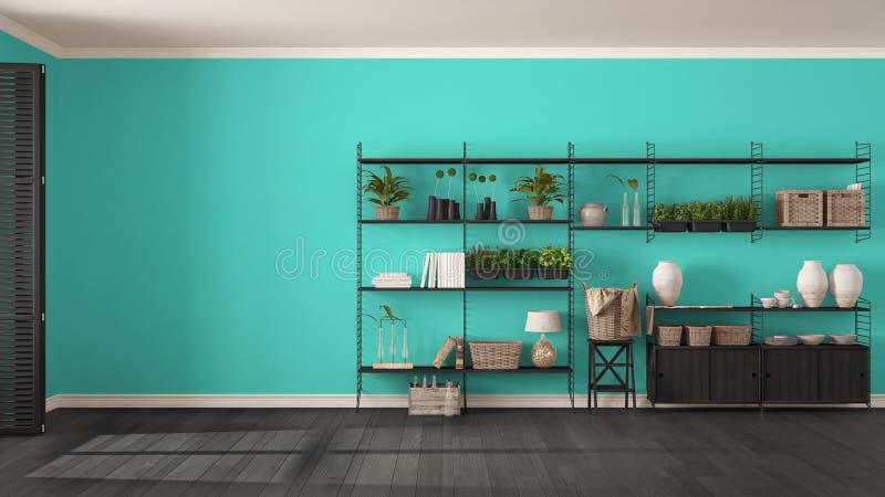 Eco grijs en turkoois binnenlands ontwerp met houten boekenrek, Di royalty-vrije stock afbeeldingen