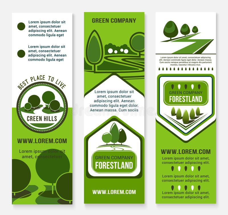 Eco groen bedrijfsbannermalplaatje met boom stock illustratie