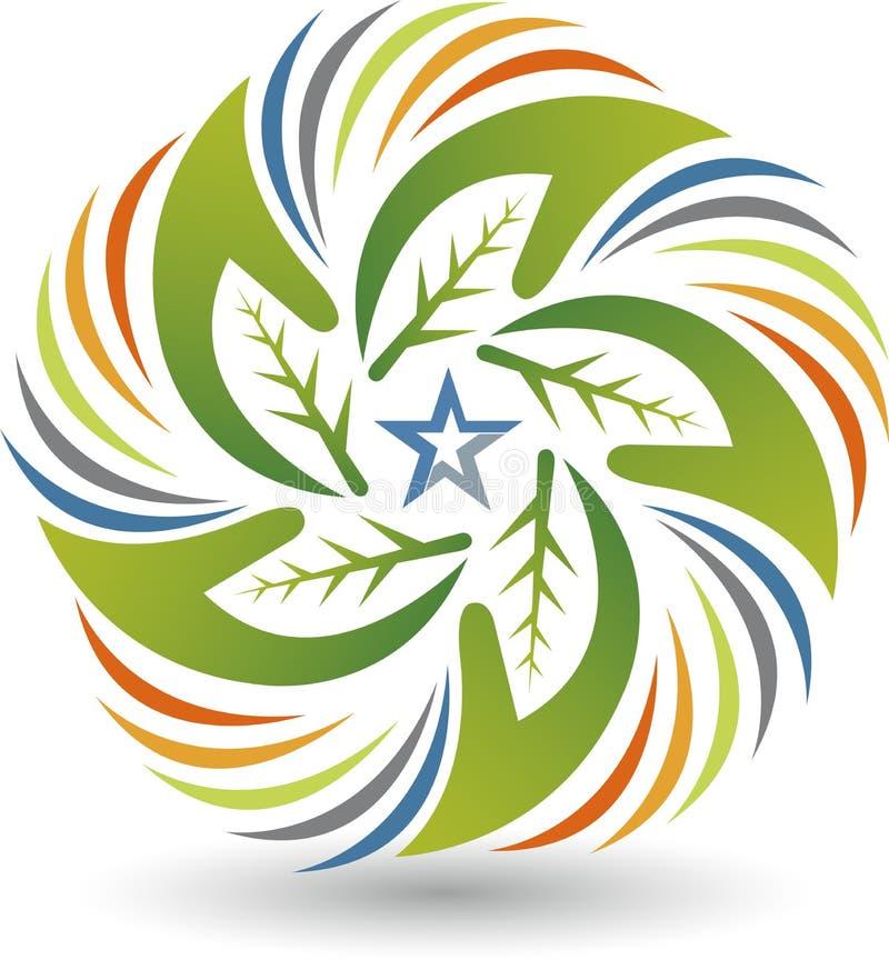 Eco gwiazda wręcza loga ilustracja wektor