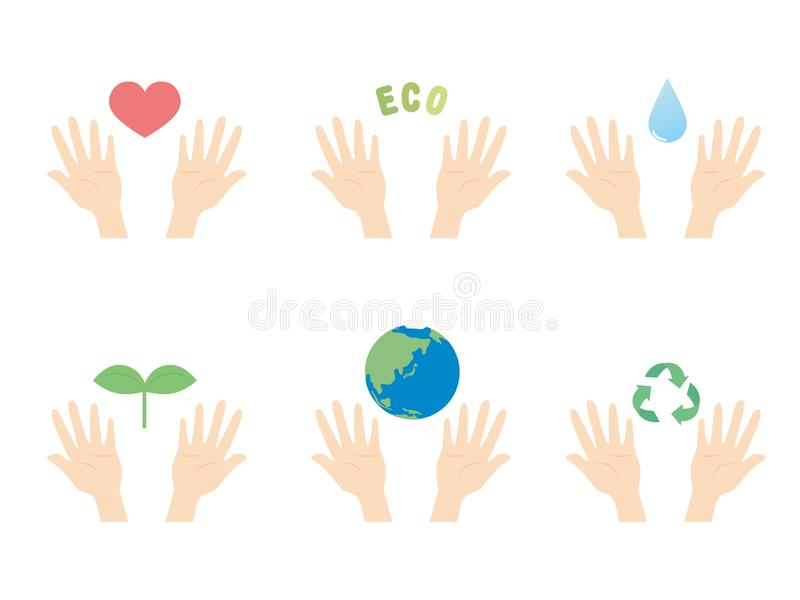 Eco hands1 royalty illustrazione gratis