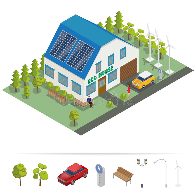 Eco Haus Isometrisches Gebäude Alternative Energie stock abbildung