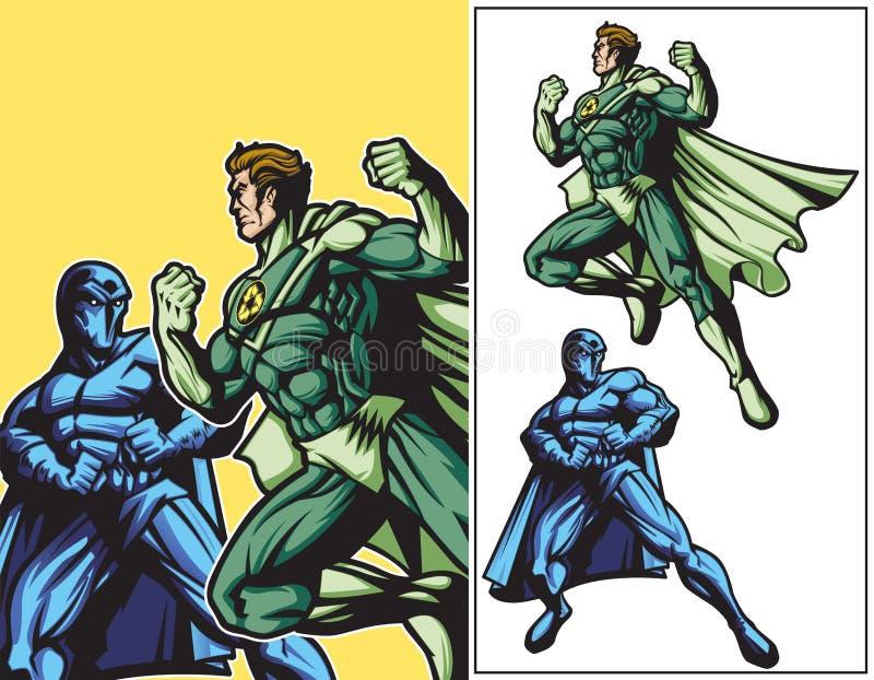 Eco hjälte vs mörkerhjälte royaltyfri illustrationer