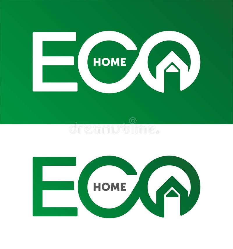 Eco home, house logo, home logotype, eco, green, vector template. royalty free illustration