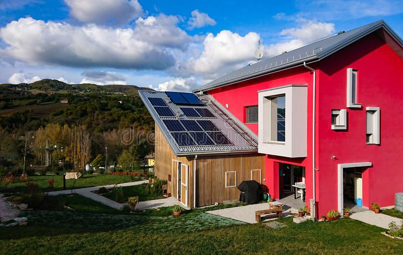 Eco Home Solar Power Cells Energy. Eco Home Solar Power. A modern home powered exclusively by solar power stock photo