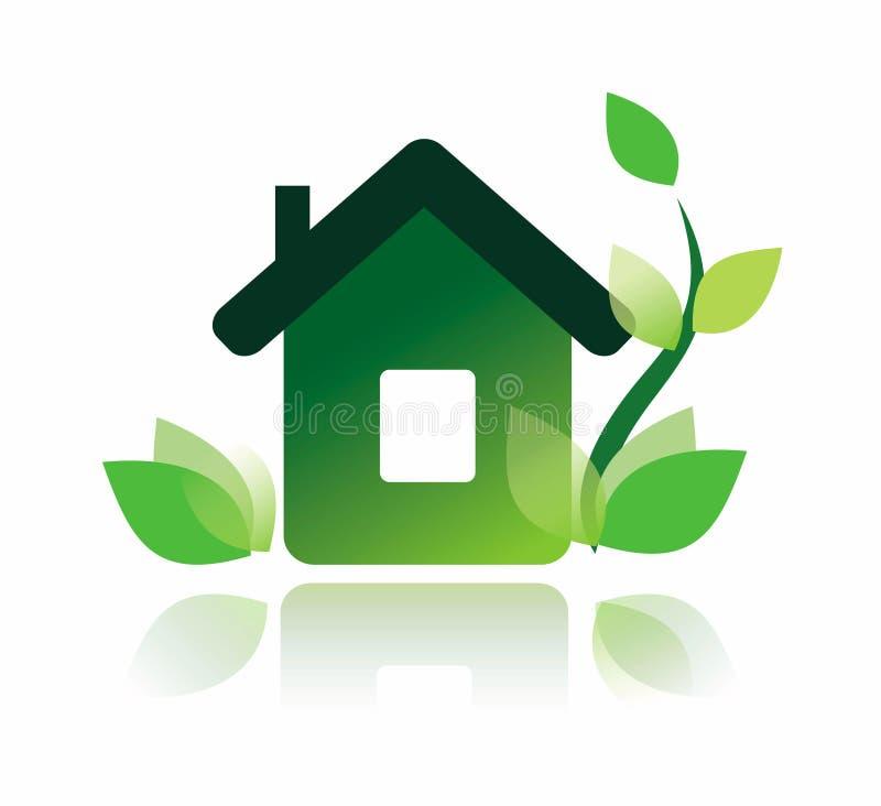 Eco home symbol royaltyfri illustrationer