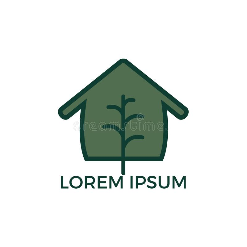Minimalist vector logo of house and tree leaf. royalty free illustration