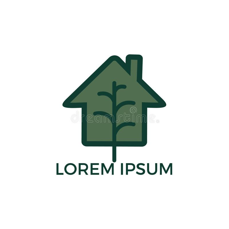 Minimalist vector logo of house and tree leaf. vector illustration