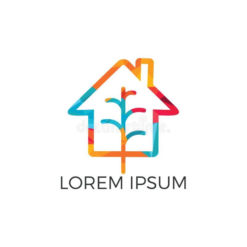 Minimalist vector logo of house and tree leaf. stock illustration