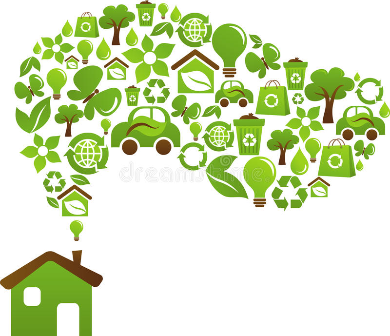 Eco house concept - green energy icons stock illustration