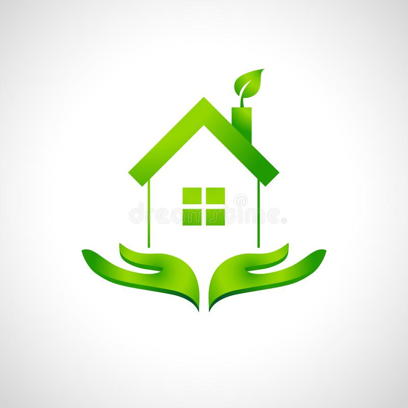 Eco house and green home logo concept with leaf stock illustration