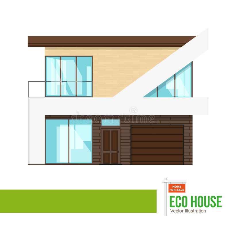 Eco House cottage. Flat private residential architecture, town house cottage. Modern building on white background vector illustration