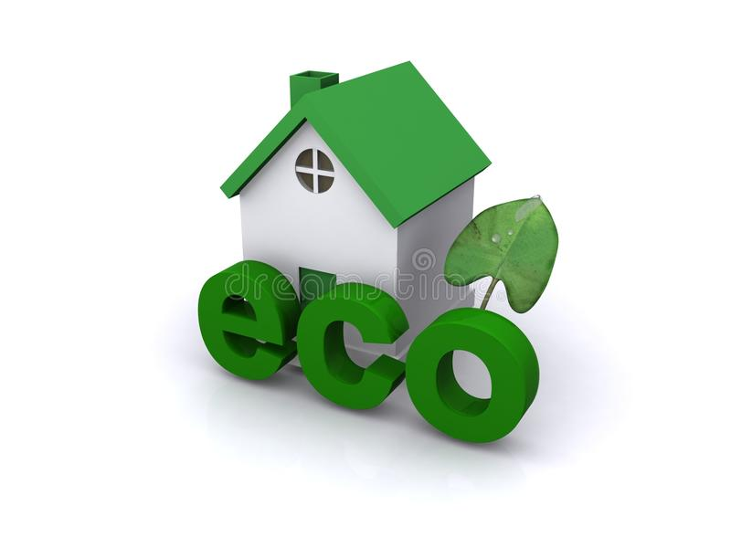 Eco house with green leaf. 3d illustration of green house or home with eco sign and green leaf, white background stock images