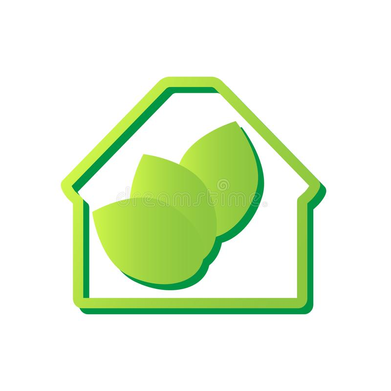 Eco House icon. Home with green leafs inside. Ecology concept. Vector illustration. vector illustration