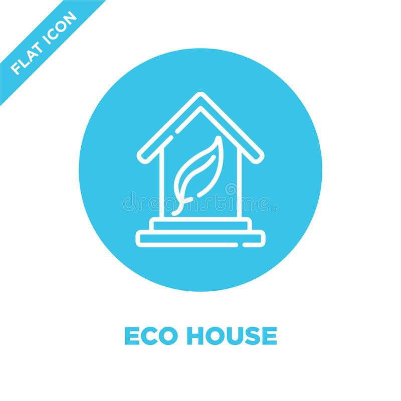 eco house icon vector from smart home collection. Thin line eco house outline icon vector  illustration. Linear symbol for use on vector illustration