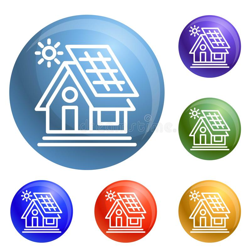 Eco house icons set vector stock illustration