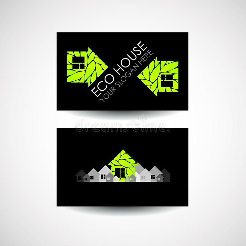 Eco house logo and business card design. Ecological construction. Eco architecture. Eco house and clean environment. stock illustration
