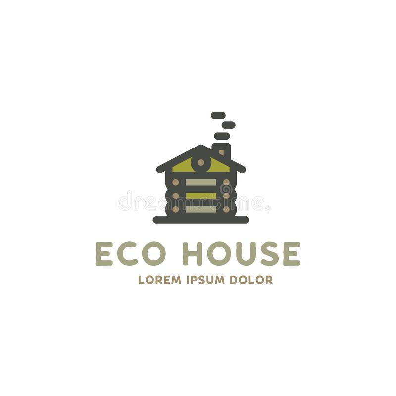 Eco house logo template. Flat design concept of eco house, wooden house. Stock vector logotype isolated on white royalty free illustration
