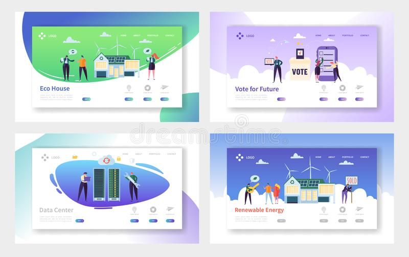 Eco House Renewable Energy Landing Page Set. Vote for Future and Build Home from Material and Technology vector illustration