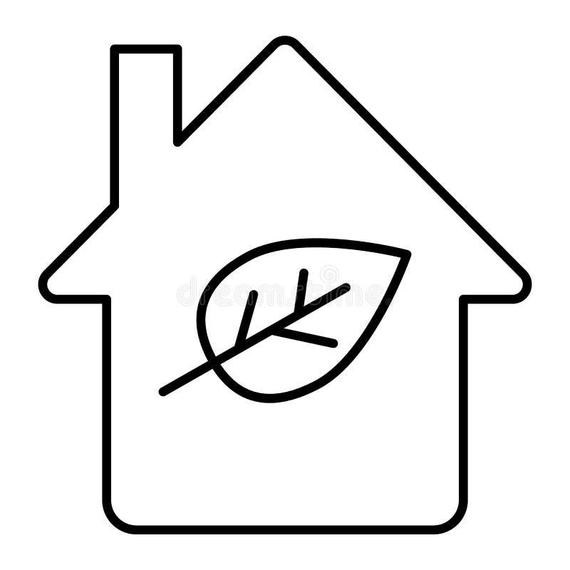Eco housethin linii ikona Stwarza ognisko domowe z liść wektorową ilustracją odizolowywającą na bielu Ekologia domu konturu stylu ilustracja wektor